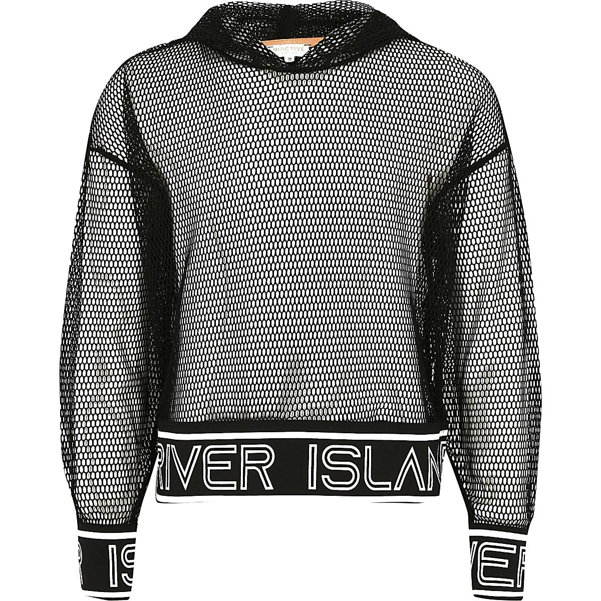 Zwarte hoodie van mesh met RI-logo voor meisjes