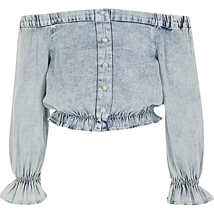 Girls blue denim bardot top