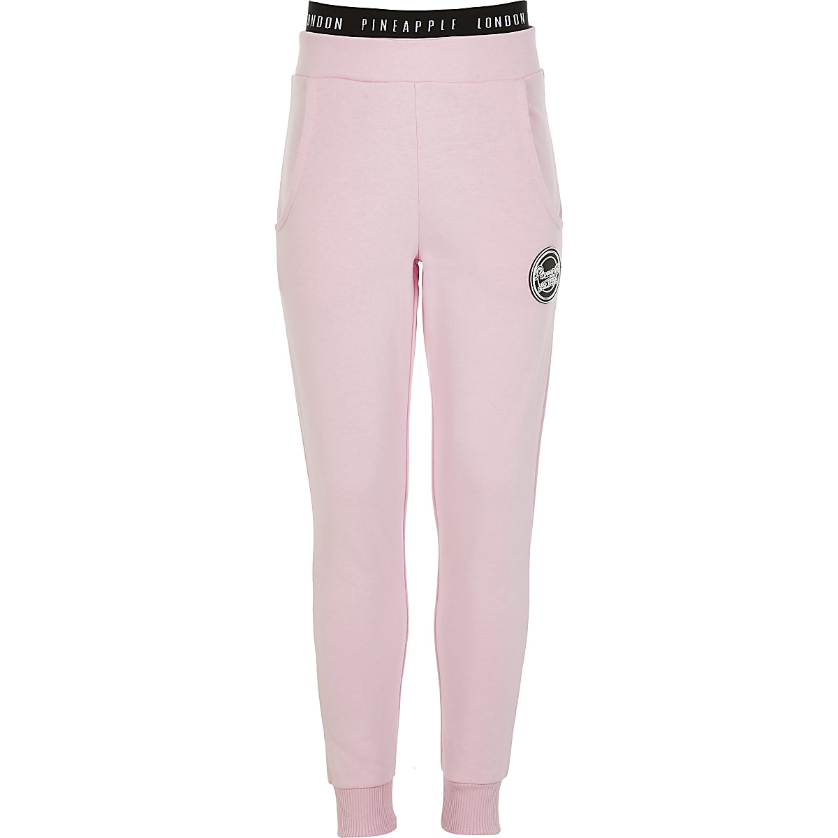 Girls Pineapple pink slim fit joggers