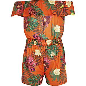 Oranger Overall mit tropischem Print