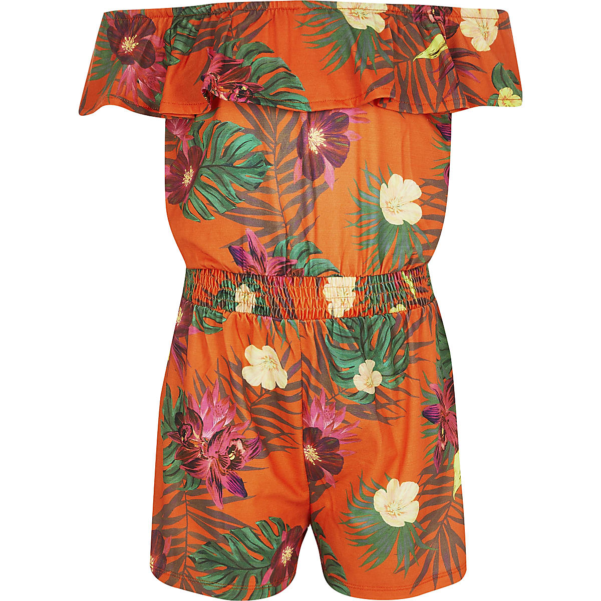 Girls orange tropical print playsuit