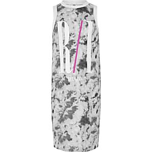 Grijze jurk met RI en tie-dye voor meisjes