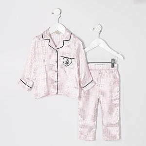 Mini – Rosa Pyjama-Outfit mit RI-Monogramm für Mädchen