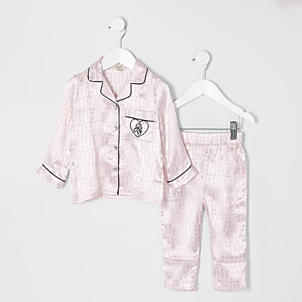 Mini girls pink RI monogram pyjama outfit