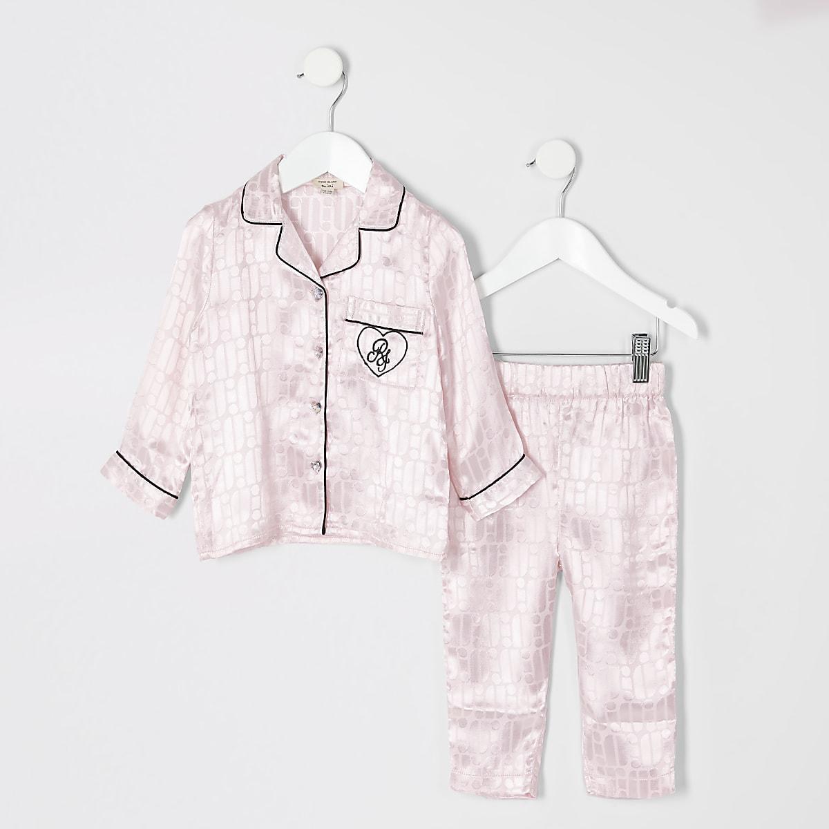 Mini - Outfit met roze pyjama met RI-monogram voor meisjes
