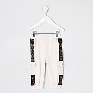 Pantalons de jogging roses avec bande Mini fille