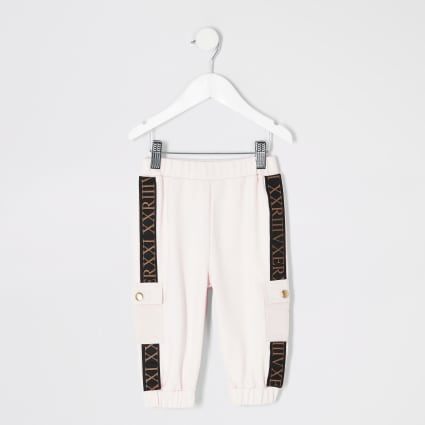 Mini girls pink tape utility joggers