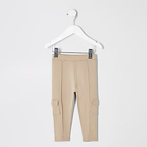 Mini girls beige utility leggings