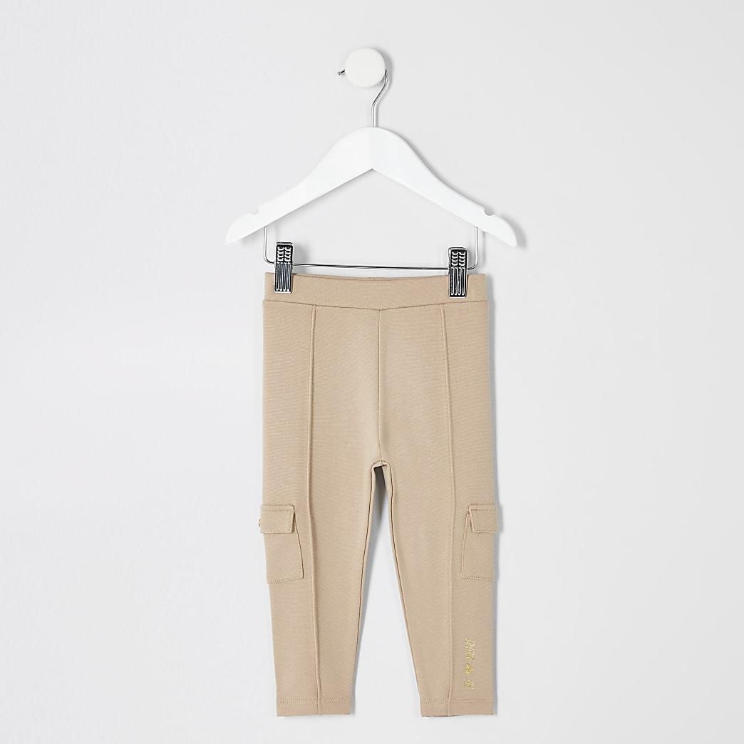 Mini - Beige utility legging voor meisjes