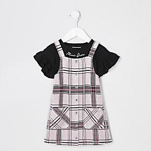 Mini– Rosa Latzkleid-Outfit mit Karomuster für Mädchen