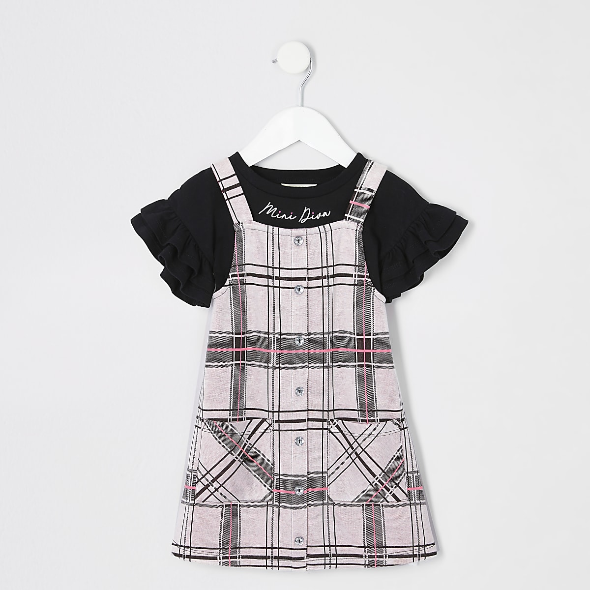 Mini girls pink check 2 in 1 pinafore dress