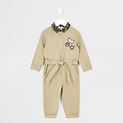Mini girls stone badge boiler jumpsuit