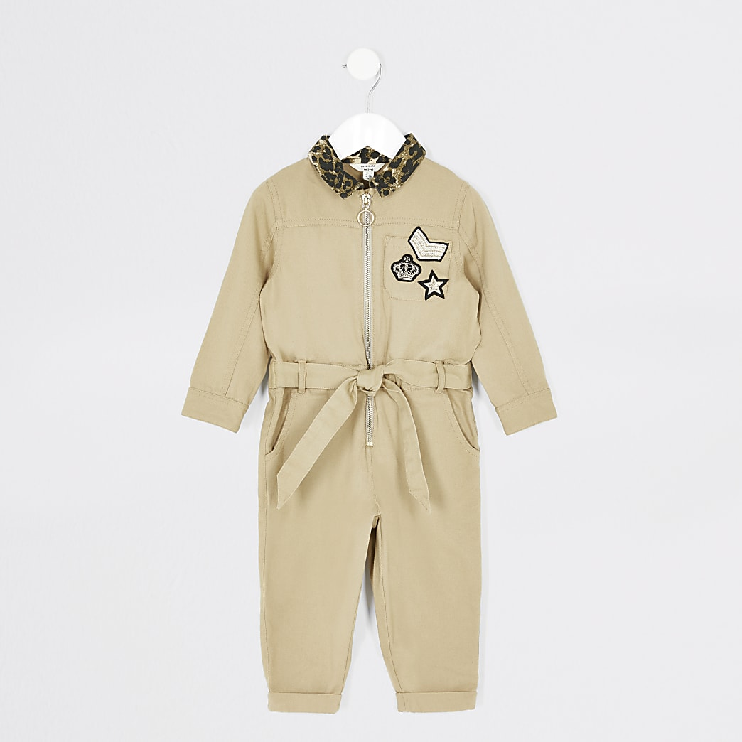 Mini girls stone badge boiler jumpsuit