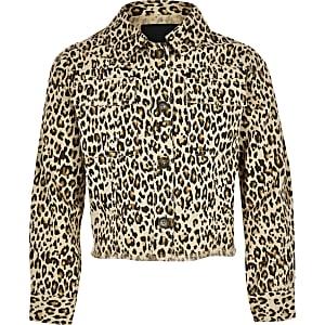 Veste chemise imprimé léopard marron pour fille