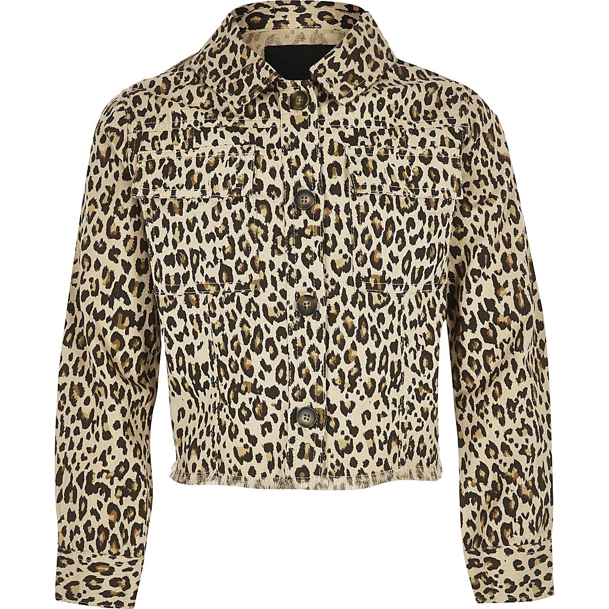 Girls brown leopard print shacket