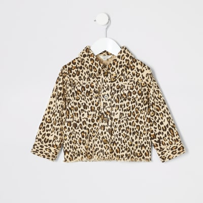 Mini Girls Brown Leopard Print Shacket by River Island