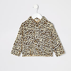 Mini girls brown leopard print shacket