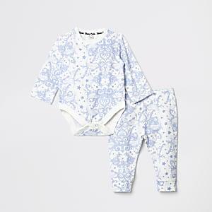 Outfit met blauwe babygrow legging voor baby's