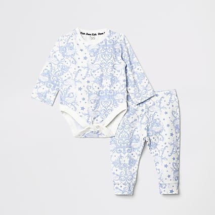 Baby blue baby grow leggings outfit