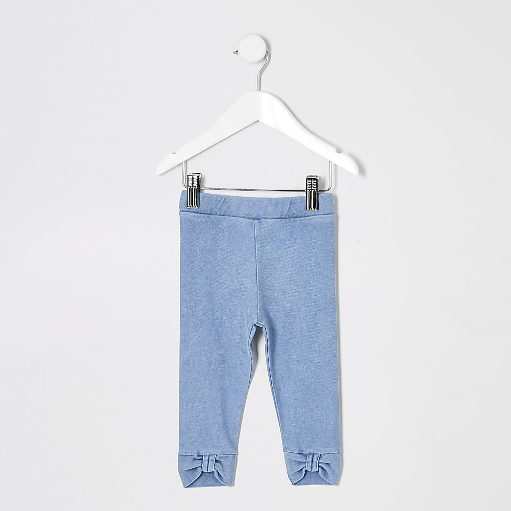 Mini girls blue denim bow hem leggings