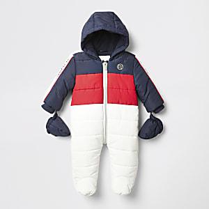 Weißer, gesteppter Schneeanzug mit Colour-Blöcken für Babys