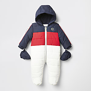 Wit gevoerd sneeuwpak met kleurvlakken voor baby's