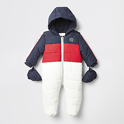 Baby white colour blocked quilted snowsuit