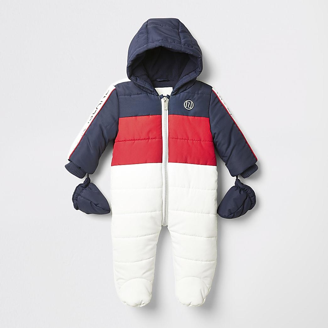Combinaison de ski matelassée blanc colour block pour bébé