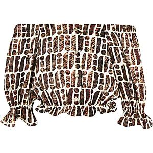 Bruine bardottop met RI-print voor meisjes