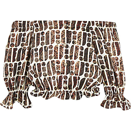 Girls brown RI print bardot top