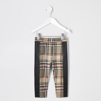 Mini Girls Beige Check Legging by River Island