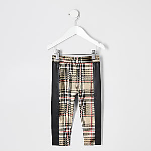Mini girls beige check legging