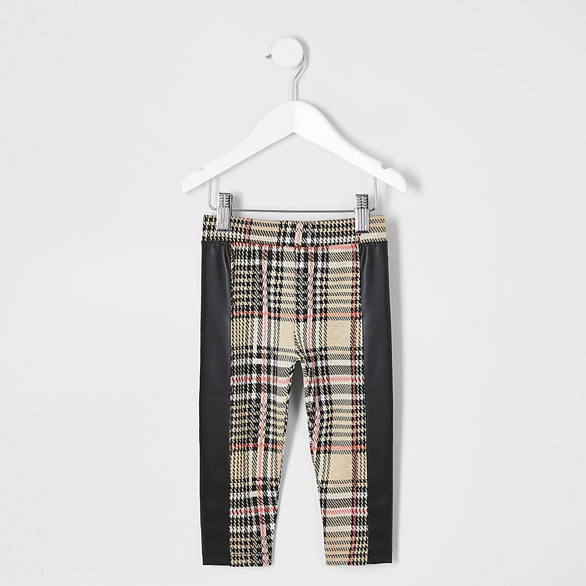 Mini - Beige geruite legging voor meisjes