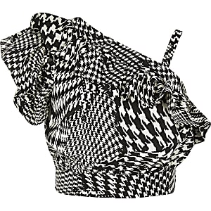 Crop top motif pied-de-poule noir pour fille
