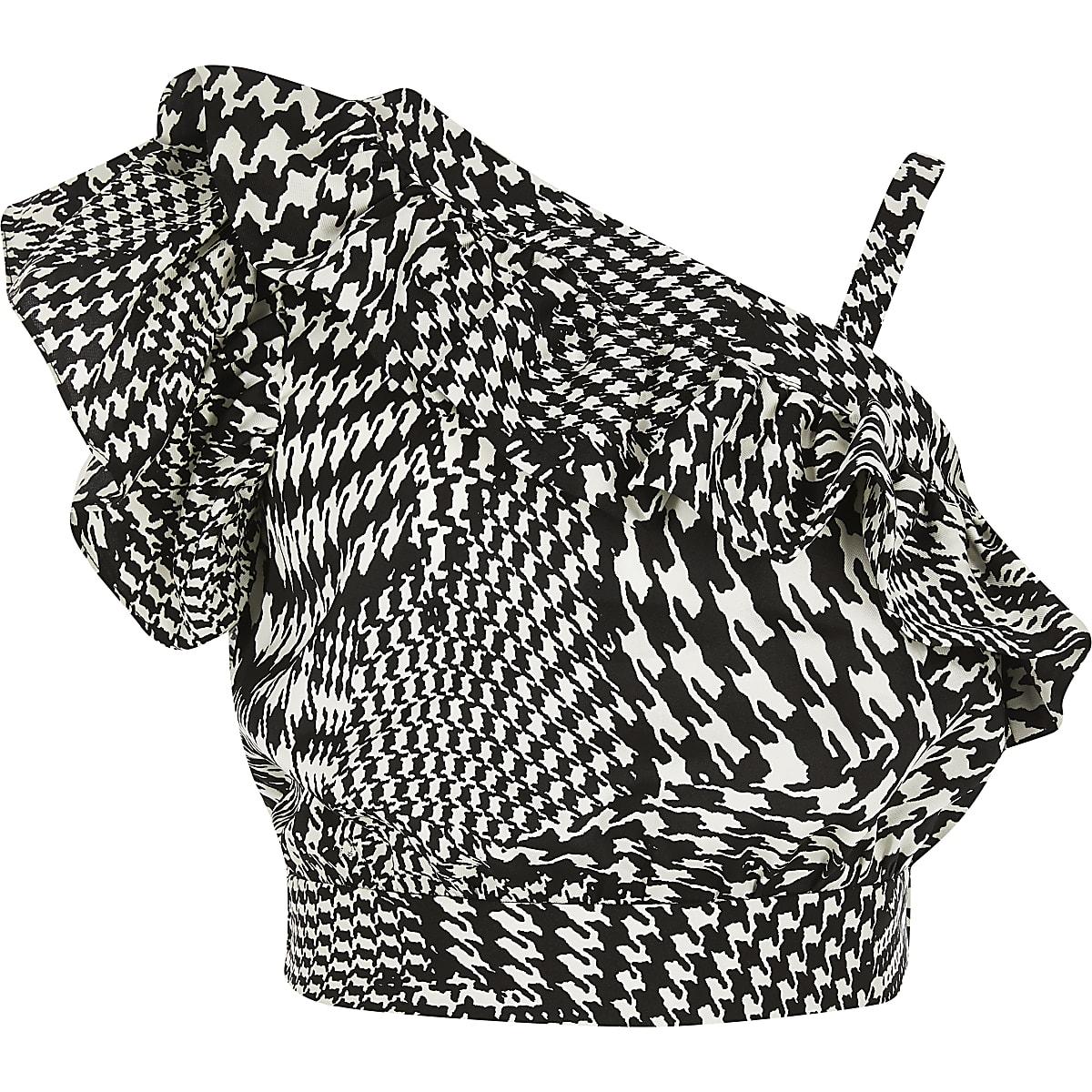 Girls black dogtooth check print crop top