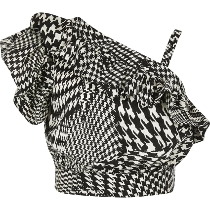 Girls black dogtooth check print crop top