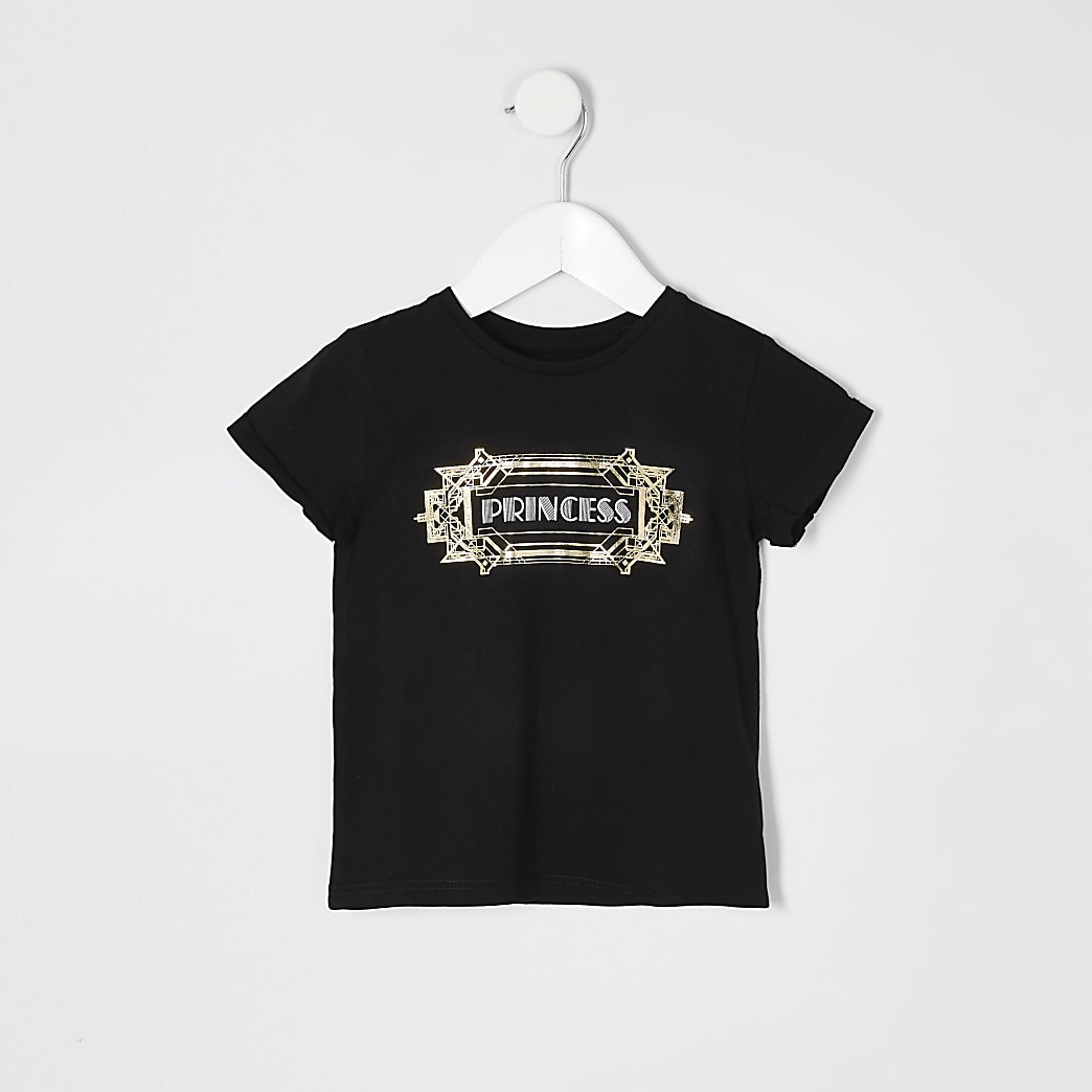 Mini girls 'Princess' twinning black T-shirt