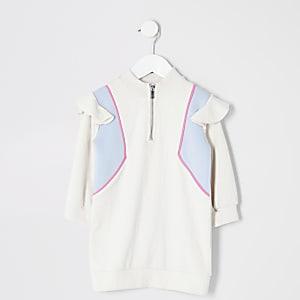 Mini – Sweatshirt-Kleid mit Farbblöcken für Mädchen in Creme