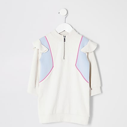 Mini girls cream blocked sweatshirt dress