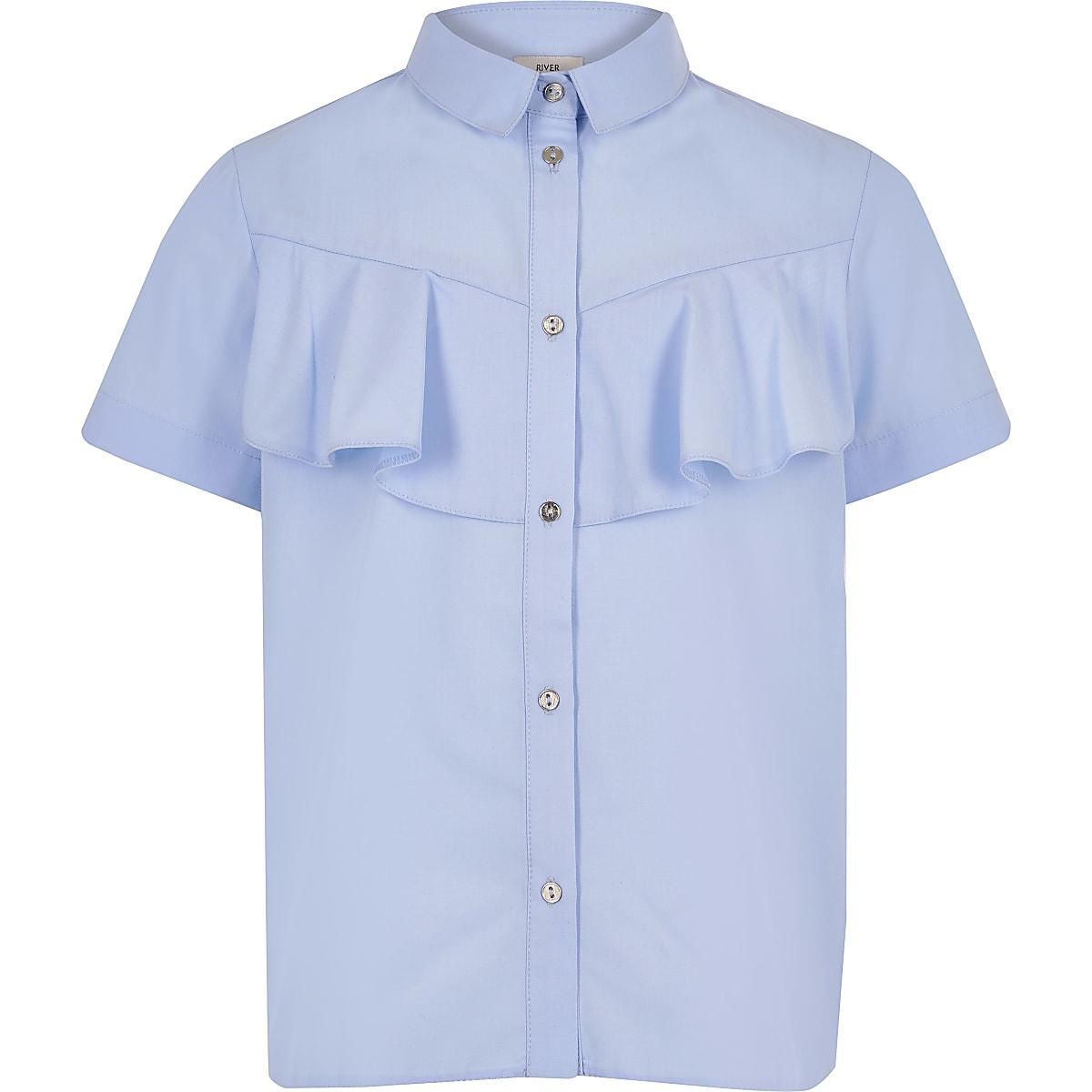 Girls blue poplin shirt