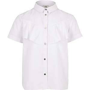 Chemise en popeline blanche pour fille