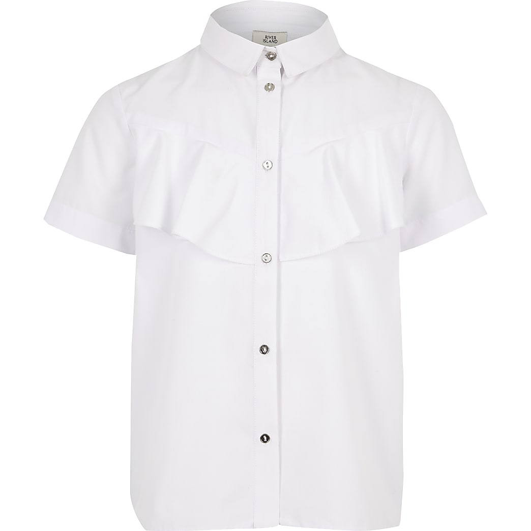 Girls white poplin shirt