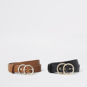 Girls black brown ring buckle belt multipack