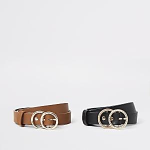 Girls black brown ring buckle belt multipack