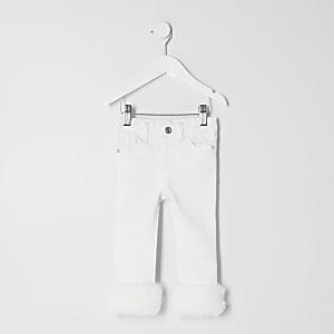Mini - Amelie - Crèmekleurige jeans met rand van imitatiebont voor meisjes