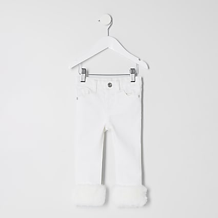Mini girls cream Amelie faux fur trim jeans