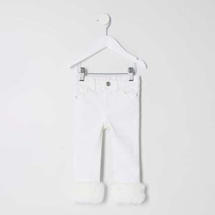 Mini girls cream Amelie faux fur trim jeans