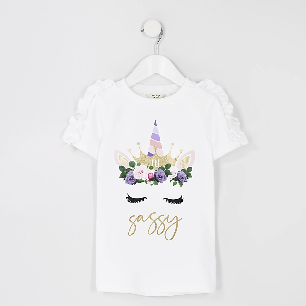 Girls white unicorn t-shirt dress