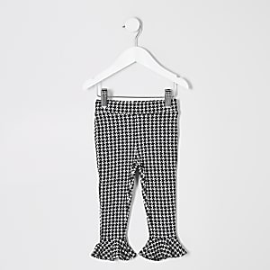 Girls black mono dogtooth check print legging