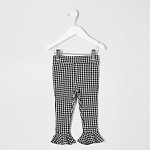 Zwart-witte legging met pied-de-poule-motief voor meisjes